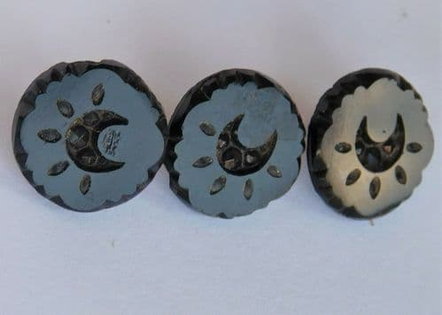 3 antique carved mourning buttons Victorian mens dress wear jet black vintage